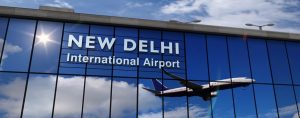 ned delhi flygplats panorama 300x118 - Jet Aircraft Landing At New Delhi, India 3d Rendering Illustration. Arrival In The City With The Gla